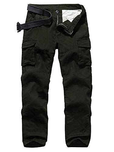Men's Casual Military Pants, Camo Tactical Wild Combat Cargo ACU/BDU Rip Stop Trousers #6030-Army Green,36
