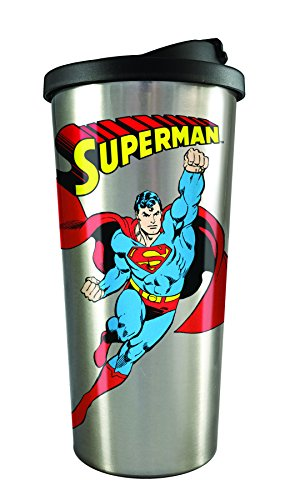 Spoontiques 20834 Superman Stainless Steel Travel Mug, Silver