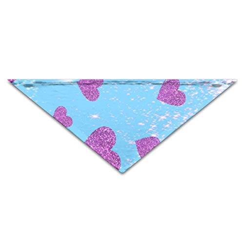 OHMYCOLOR Glitter Heart Dog Bandanas Scarves Triangle Bibs Scarfs Design Basic Dogs Neckerchief Cat Collars Pet Costume Accessory Kerchief for Large&Medium&Small Puppy ()