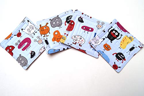 Monster Quilted Fabric Coasters Set