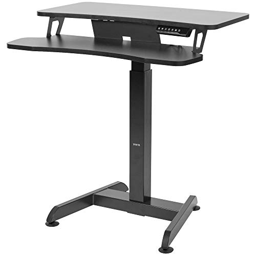 VIVO Black Electric Height Adjustable Two Platform Standing Desk Monitor Riser | Small Space 32