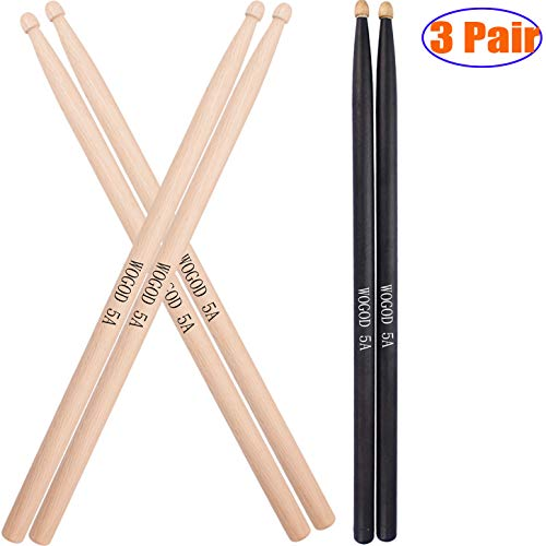 - Drum Sticks 5A Wood Tip Drumstick 3Pair (3Pair - Oak)
