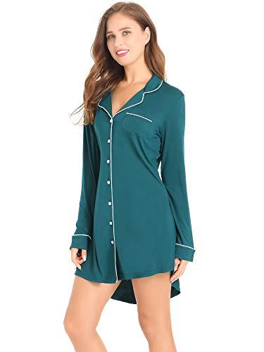 Amorbella Womens Button Up Sleep Shirt Boyfriend Nightshirt Pajama Top Nightgown Plus Size (Vintage Green, XXL)