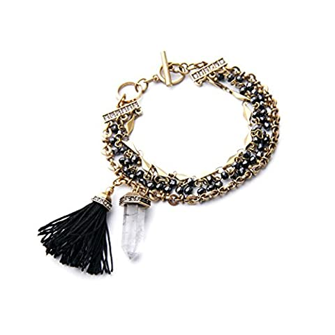 Kaariag Punkin Stone of Time and Space Black Tassel Pendant Copper Cha...