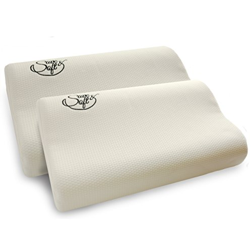 Price comparison product image 2 Pack Save&Soft Memory Foam Pillow - Comfortable Hypoallergenic Pillow with Optimum Neck Support & Pain Relief - Micro-Vented Soft Removable Washable Cover – Ideal for Side, Back, Stomach Sleeping …