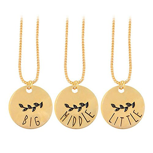 Big middle little sis golden olive branch pendant necklace BBF necklace set with 3pcs necklace (Olive Golden Branch)