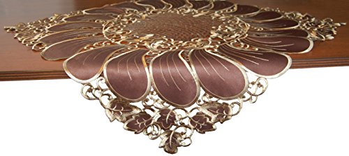 EcoSol Designs Embroidered Table Topper Centerpiece (33''x33'', Brown Daisy) by EcoSol Designs