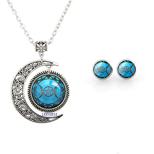 Beautiful Season DIY Blue Triple Goddess Necklace and Stud Earrings Moon Charm Pendant Triple Goddess Jewelry Set for Girl Women (Fulfillment by Seller)