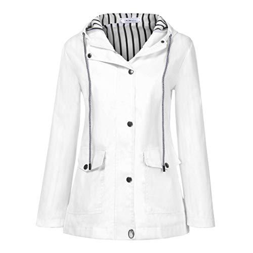 Women Solid Rain Jacket Outdoor Plus Waterproof Hooded Raincoat Windproof (M, White)]()