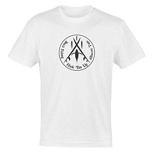 Beach Surf Fishing for Albacore Tuna - Hook 'Em Up - on White T-shirt - Size - Up Hook Em