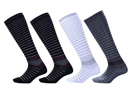 NOVAYARD 4 Pairs Knee High Graduated Compression Socks (15-20mmHg) for Men & -