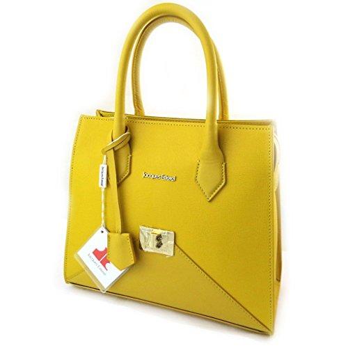 Bolsa de cuero 'Jacques Esterel'de color amarillo.
