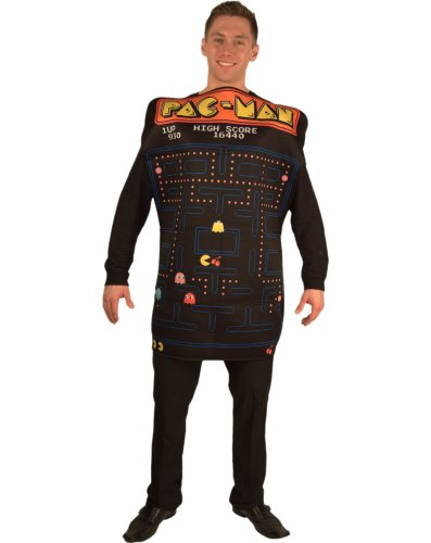 Incogneato Unisex Pac-Man Video Game Screen Poncho Adult Costume One-Size Black (Pac Man Halloween Costume)