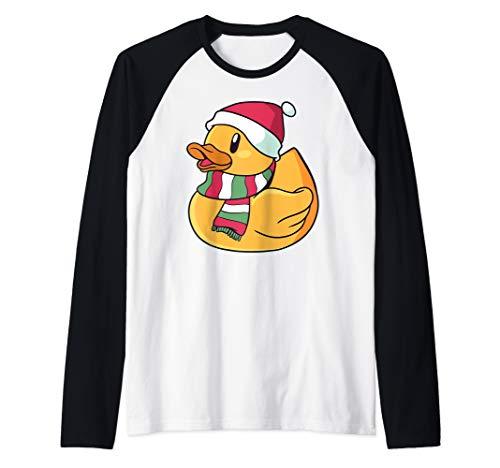 Xmas Rubber Ducky Duckie Duck Christmas Gift Cute Funny Raglan Baseball Tee