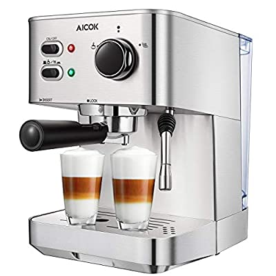 Espresso Machine, Cappuccino Coffee Maker with Milk Steamer Frother, 15 Bar Pump Latte and Moka Machine, Stainless Steel, Warm Top for Cup Placing, 1050W, by AICOK from AICOK