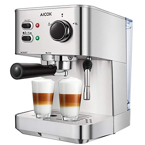 Espresso Machine, Cappuccino Coffee Maker with Milk Steamer Frother, 15 Bar Pump Latte and Moka Machine, Stainless Steel, Warm Top for Cup Placing, 1050W, by AICOK ()