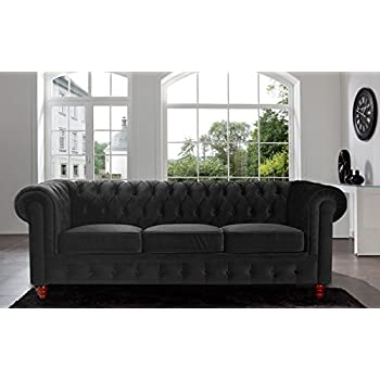 Divano Roma Furniture Velvet Scroll Arm Tufted Button Chesterfield Style Sofa, Black
