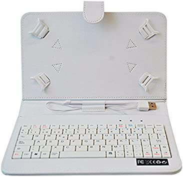 HOME a107448-8-WHITE - Funda para Tablet con Teclado, Color Blanco