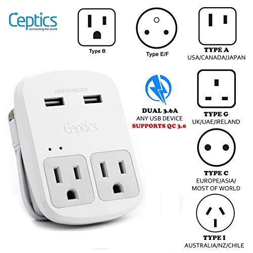 Safest Travel Adapter Kit, Dual USB for iPhone, Chargers, Cell Phones, Laptop Perfect for Travelers by Ceptics - 3.6A with Qc. 3.0 Charge Faster (The Best Cell Phone In South Africa)