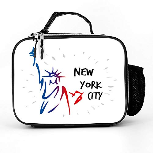 Welkoom Lunch Bag With Statue Of Liberty In New York City American Spacious Insulated School Lunch Box|Durable Thermal Lunch Cooler Pack With Strap For Boys Men Women Girls