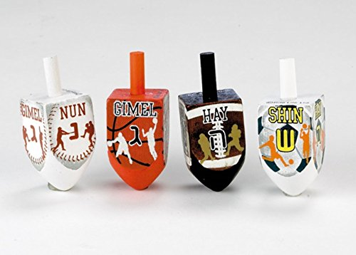 Sports Theme Painted Wooden Dreidels, 4-Pack by Rite Lite