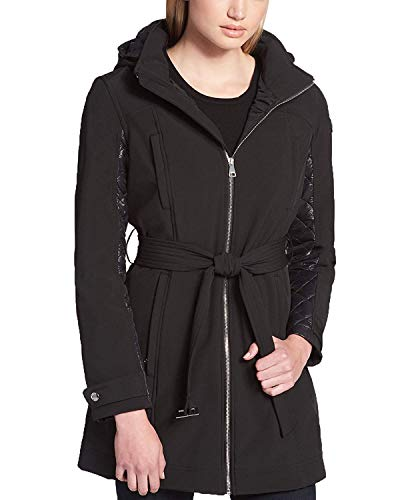 DKNY Women's Quilted-Contrast Raincoat Black ()