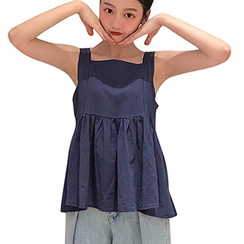 TANLANG Women Solid Vest Casual Backless Ruffled Hem Shirts Mini Blouses Sleeveless Sling Square Collar Strappy Tank Tops Navy