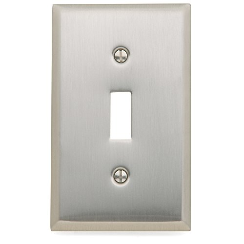 "Baldwin Estate 4751.150.CD Square Beveled Edge Single Toggle Switch Wall Plate in Satin Nickel, 4.5"" x 2.75"""
