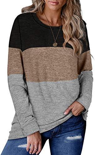 Women Long Sleeve Tops Shirts Block Casual Stripe Print Round Necks Blouse Loose Tunic S-XXL