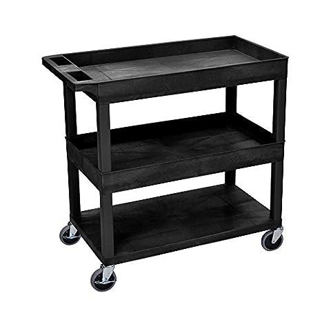 LUXOR EC112-B Cart, High Capacity, 2 Tubs and 1 Flat Shelf, Black - Buhl Flat