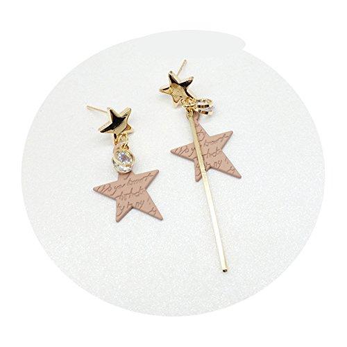 - TIDOO Jewelry Korean Style Asymmetric Tassels Earring for Girls Pink Macarons Lovely Ear Stud (A# Five-Pointed Star)