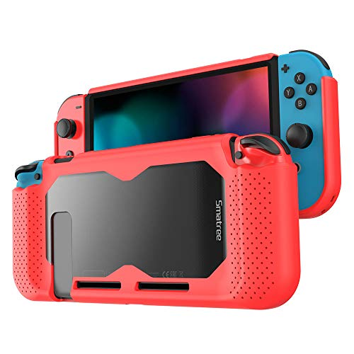 Smatree Hard Protective Case Compatible for Nintendo Switch-Comfort Handheld Back Cover for Nintendo Switch Console (Red)