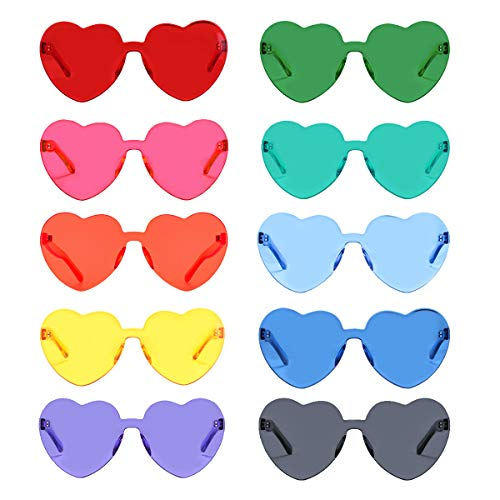One Piece Heart Shaped Rimless Sunglasses Transparent Candy Color Eyewear (10 Pack) ()