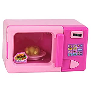 Perfeclan Pink Plastic Microwave Oven Pretend Role Play Toy Game Preschool Kids Gifts