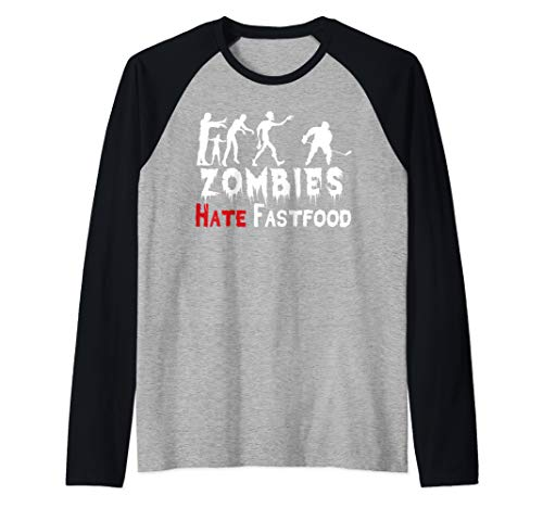 Zombies Hate Fast Food Funny Halloween Ice Hockey Gift  Raglan Baseball -