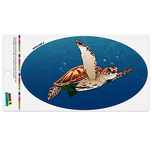 Graphics and More Sea Turtle Swimming in Ocean Automotive Car Refrigerator Locker Vinyl Euro Oval Magnet
