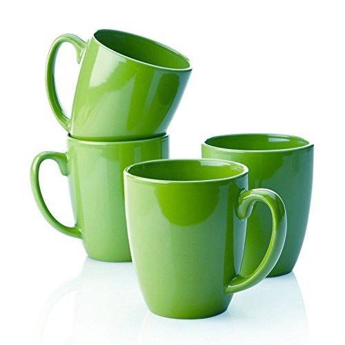 Corelle Stoneware Green Mugs, 11 Oz, White (Pack of 4)