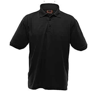 UCC 50/50 Mens Heavyweight Plain Pique Short Sleeve Polo Shirt (UK Size: 2XL) (Black)