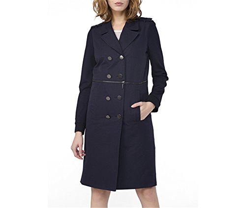 Cocainat Women Spring Coat Exclusive Design Tibetan Youth Single-Breasted Lapel Collar Navy Blue XXS - Exclusive Single Breasted Jacket