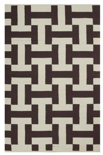 - Fab Habitat Canal Flat Weave Recycled Cotton Rug, Coffee & Beige, (2' x 3')