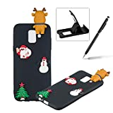TPU Case for Samsung Galaxy A6 Plus 2018,Soft Rubber Cover for Samsung Galaxy A6 Plus 2018,Herzzer Ultra Slim Stylish 3D Christmas Santa Claus Deer Series Design Scratch Resistant Shock Absorbing Flexible Silicone Back Case - Black