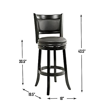 Boraam 45829 Augusta Bar Height Swivel Stool, 29-Inch, Black
