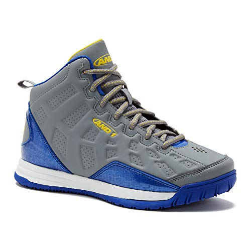 AND1 Kids Show Out Basketball Shoe, 1 M US Little Kid Gray/Blue/Yellow (Brief Comfort Luxe)