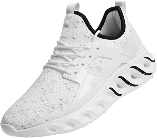 BRONAX Running Shoes for Men para Hombres Lace up Slip on Lightweight Comfortable Fashion Stylish Tennis Walking Casual Sports Athletic Sneakers Men's White Size 12
