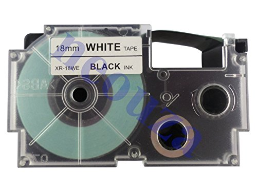 Compatible for Casio EZ-Label Tape 18mm Black on White XR-18WE1 8m LABEL IT!