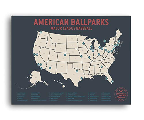 Epic Adventure Maps Major League Baseball Travel Map - Mark Your Travels to Your Favorite MLB Baseball stadiums for The Baseball Fan (Gray, 24x17)