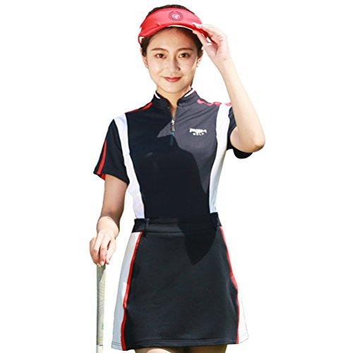Kayiyasu ゴルフウェア レディース ゴルフスカート ゴルフシャツ 女性用 半袖 上下セット 021-xsty-tz011(XL セット)