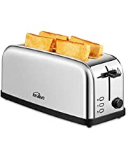Kealive Toaster Edelstahl, Doppel Langschlitz Toaster für 4 Scheiben Toast mit 7-stufig einstellbarer Bräunungsgrad, mit Leicht zu reinigen Krümelschublade, 1500 Watt