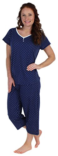 Sleepyheads Women's Sleepwear Cotton Short Sleeve V-Neck Top and Capri Pajama Set (SHCJ1730-4075-MED) (Cotton Pants Knit Cropped)