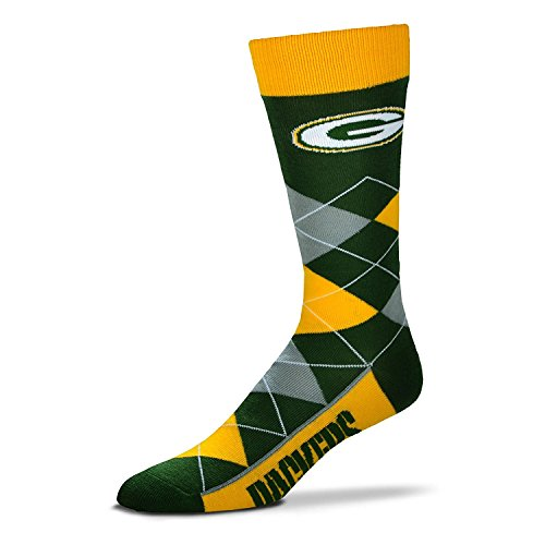 Lineup Bay Packers Green - NFL Green Bay Packers Argyle Unisex Crew Cut Socks - One Size Fits Most